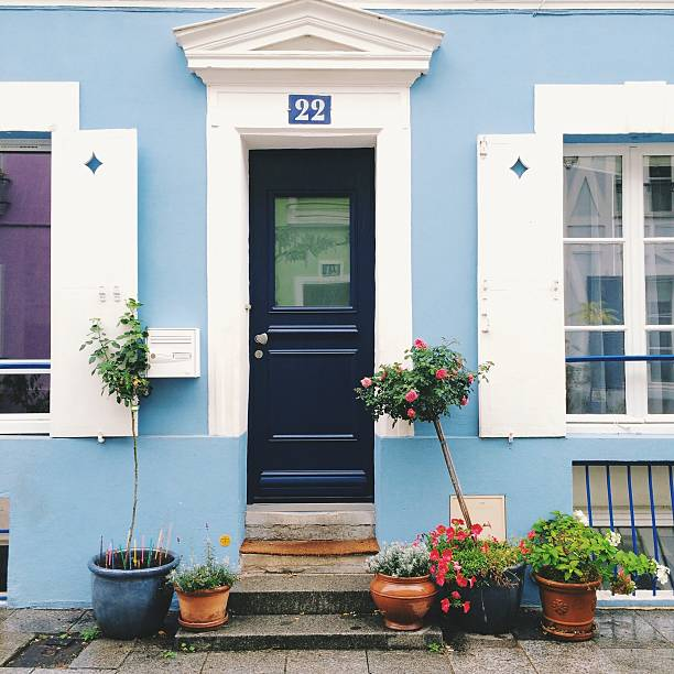 Porte d'entrée bleu maison bleur clair avec plantes sur le perron